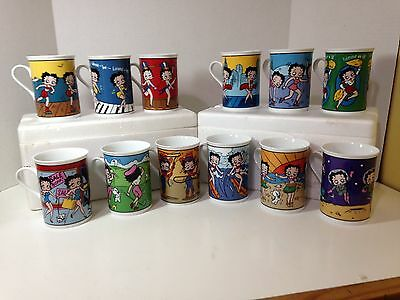 BETTY BOOP Set of 12 Danbury Mint Fine Porcelain Collector Mugs - Excellent Cond