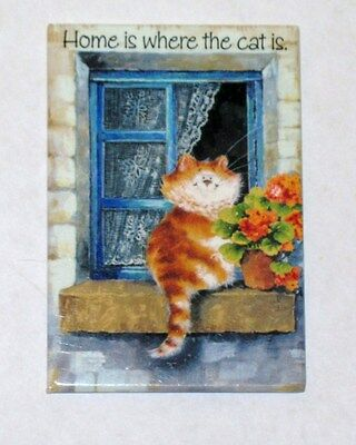 "Vintage Cat Refrigerator Magnet  "" HOME IS WHERE YOUR CAT IS """