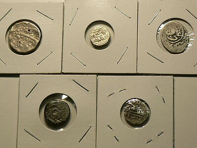 India, Lot Of 5,  18th & 19th Century Hammered Silver Coins #G6551