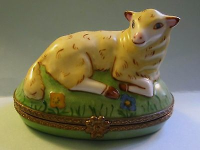 Vintage Signed LIMOGES France Peint Main LAMB Hinged Trinket Box