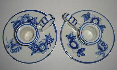 Pair Floral Delft Blue Handpainted Candle Holders ' Wee Willie Winkie ' Pottery