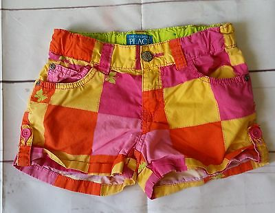 The Children's Place Girl's Size 8 Patchwork Print Shorts Adjustable Pink Yellow