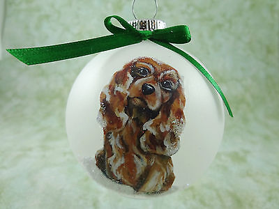 D012 Hand-made Christmas Ornament dog Cavalier King Charles Spaniel - ruby sit