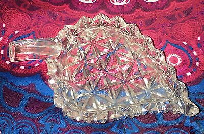 Vintage ~ Cut Glass Saw Tooth Leaf Shaped Pin Butter Dish ~ Estate Collectable