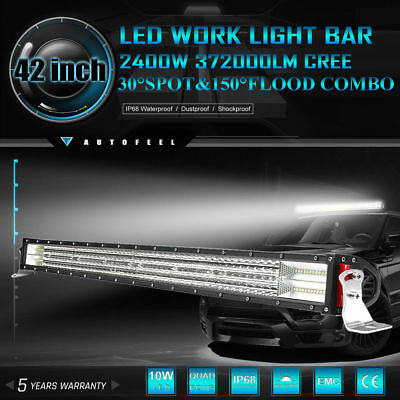 4Row 52inch 3000W CREE Curved LED Light Bar Flood Spot Offroad Driving Lamp 54""