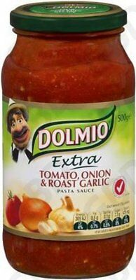 6x DOLMIO PASTA SAUCE TOMATO ONION AND ROASTED GARLIC 500GM