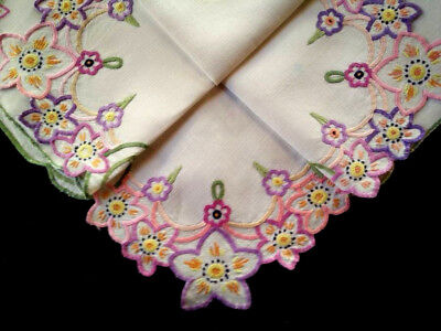 """Stunning Floral and swirls ~ Hand embroidered & Cut-work Tablecloth 33.5""""X36"""""""