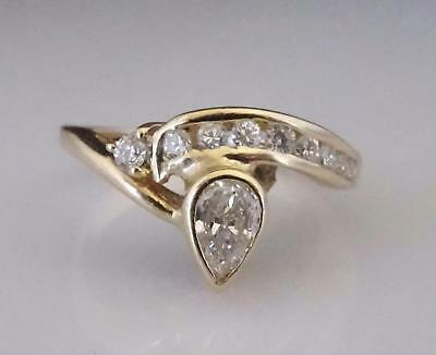 18ct Yellow Gold Pear Cut Diamond Ring with Valuation for $3235 - Size Q