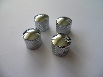 4 Chrome Electric & Bass Guitar Tone Knobs (Metal EQ Knob Treble Vol Strat Tele)