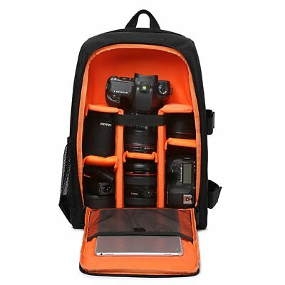 "Deluxe DSLR Camera Bag Backpack 15.6"" Laptop Case Travel Bag Waterproof Nylon"