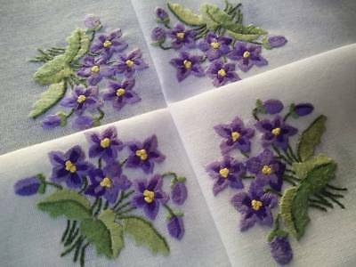 "Charming Sweet Purple Violets ~ Raised Hand embroidered Tablecloth 33.5""Sqe"
