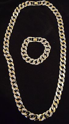 Authentic 18K gold overlay iced cuban chain necklace & bracelet set