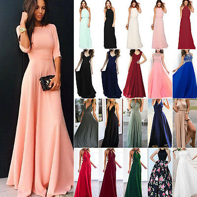 Women's Long Lace Evening Formal Cocktail Party Ball Gown Bridesmaid Maxi Dress