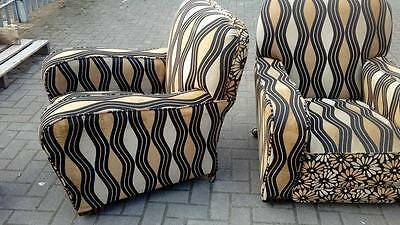 matching pair of art deco club chairs