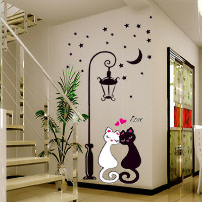 Lamp & Cat Removable Wall Sticker Decal Art Vinyl Home Kids Room Decor