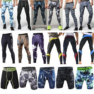 Mens Compression Pants Tights Workout Base Layers Skins Fitness Shorts Trousers