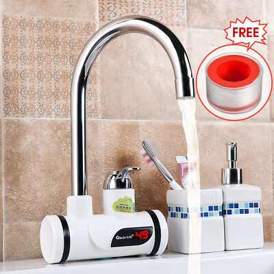 LED Digital 220V Fast Heating Electric Water Heater Faucet Tap Bathroom Kitchen