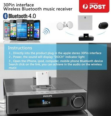 Bluetooth 4.0 Music Receiver Adapter 30Pin for iPhone 4S 4 5S iPod Dock Speaker