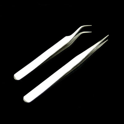 2pcs Stainless Steel Straight Curve Pointed Tweezer Eyelash Extension Eyebrow
