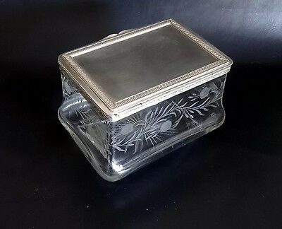 French Antique Nap III Large Crystal Etched Box with Silverplated Lid – Tablewar