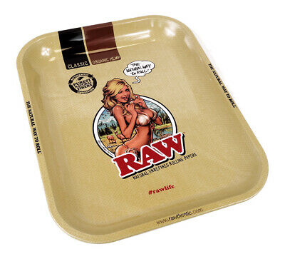 1x RAW Rolling Tray Motiv RAW Girl Drehtablett Metall Large