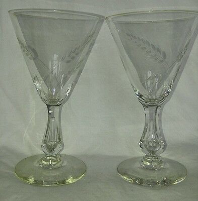 Vintage Engraved Wine Glasses Glass Air Bubble Stem Facet Cut Crystal American