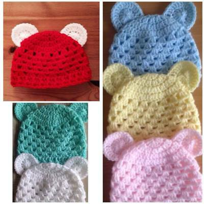 Teddy Bear Baby Beanie Hats Crocheted Photo Prop Preemie to 9-12 Months