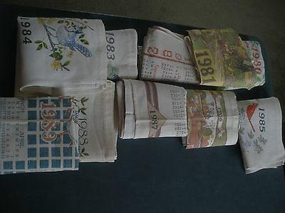 10 VINTAGE 1980-1989 CLOTH CALENDERS ALL years from 1980