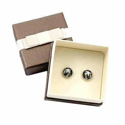 Bearded Collie. Pet in your ear. Earrings with box. Photojewelry. Handmade. USA