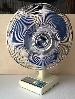 "Vintage Rare Brico Oscillating Electric Table Fan Blue Blades 18""  TESTED WORKS"