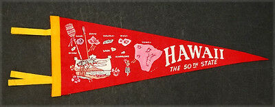 1950's 1960's HAWAII STATEHOOD Vintage HULA GIRL & MAP Felt Pennant / OAHU MAUI