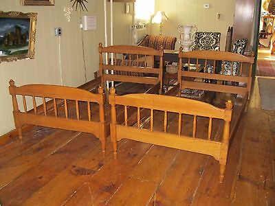 Vintage Oak Twin Beds Set with Spindle Head and Footboards - #00538
