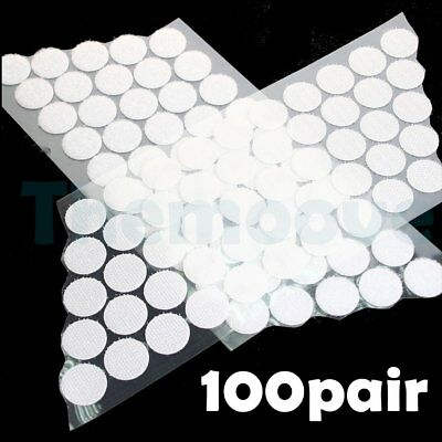 100X Hook and Loop Dots Self Adhesive 2CM White Coins Sticky Stick-On AU