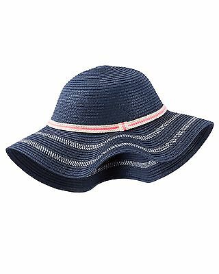 Oshkosh Girls Floppy Straw Striped Wide Brim Knit Bucket Sun Hat 4-6X 7-14 NWT