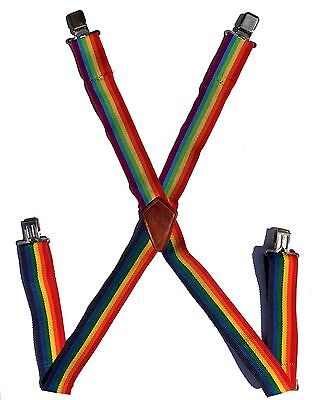 "Authentic VTG RAINBOW SUSPENDERS Rooster Products Mork &Mindy Costume 2"" Wide"