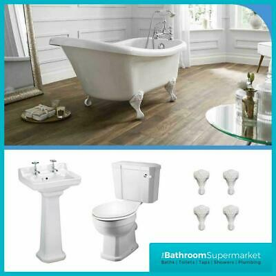 Traditional Victorian Roll Top Freestanding Bath Basin Pedestal Toilet WC Suite