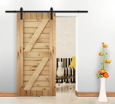 Rustic Antique Modern Style Black Double Barn Wood Steel Sliding Door Hardware I