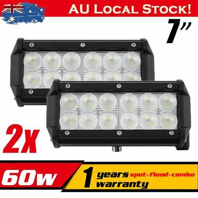 2x 60W 7inch Cree LED Light Bar Flood Beam Offroad Driving Work Lamp SUV Black