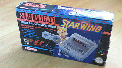 Super Nintendo Starwing PAL Console Boxed SNES, Game + 2 Controllers
