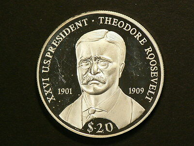 Liberia 2000, Silver $20 Proof, US President Theodore Roosevelt Unc,NoTax #G7251