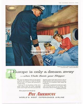 1956 Pan American Airlines Clipper Mother Child Sleeping art Vtg Print Ad