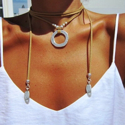 Fashion Women Ladies Boho Bohemian Wrap Necklace Leather Choker Necklace Jewelry