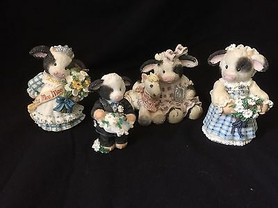 Mary Rhyner Cow Figurines Lot of Four Mary's Moo Moos