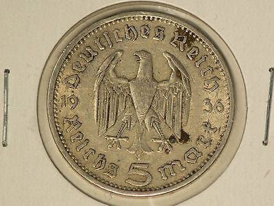 Germany 1936 A, Silver 5 Marks  #G7280