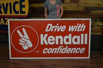Clean Kendall Garage Service Gas Oil Station Dealership Tin Sign Wood Frame