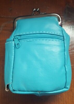 Eclipse Turquoise Lambskin Leather Cigarette 2 Zippers/Coin Purse Up To 100's