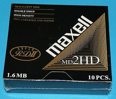 "Maxell 10 Super RD II MD 2HD 1.6 MB 5,25"" Disketten Neu/OVP in Folie rar"