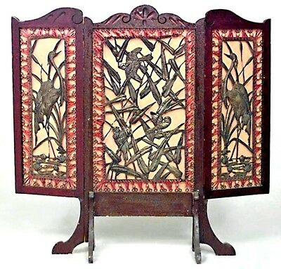 English Arts and Crafts Stained Mahogany 3 Fold Fire Screen