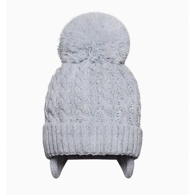 Stunning Kinder Baby Boy Blue Cable Knit PomPom Hat Cotton Lining Cozy Winter