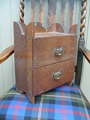 Small Antique Drawers Box Wooden Wood Collectors Cabinet